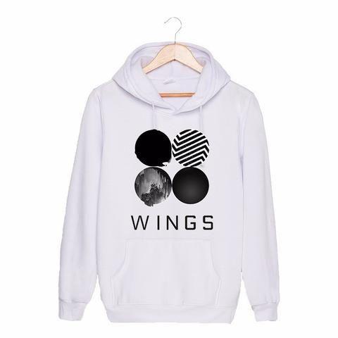 BTS Bangtan Boys Wings Album Official Logo Fashion Long Sleeves Hoodie #BTS #BangtanBoys #Wings #Album #Official #Logo #Fashion #Long #Sleeves #Hoodie #KPOP #KIDOLSTUFF