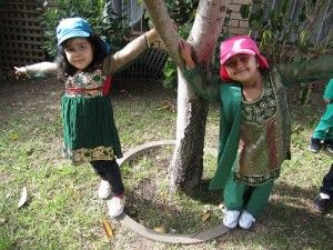Lidcombe Preschool, NSW.  Tree hugging in green. #enviroweek13