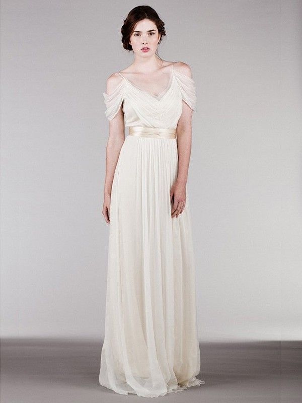 Sheath/Column Short Sleeves Spaghetti Straps Ruffles Sweep/Brush Train Chiffon Wedding Dresses