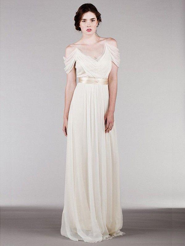 Sheath/Column Short Sleeves Spaghetti Straps Ruffles Sweep/Brush Train Chiffon Wedding Dresses