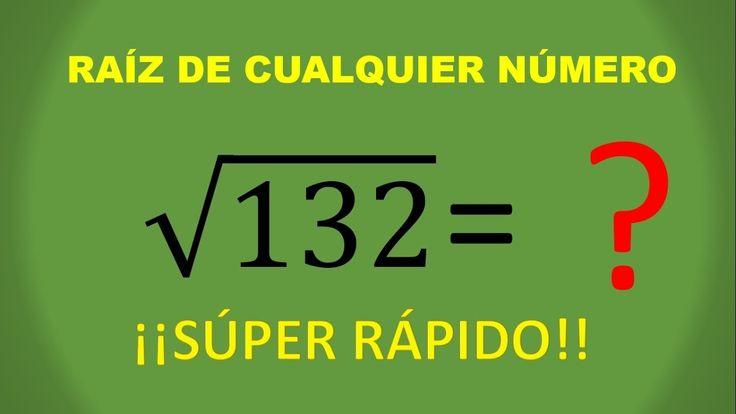 OBTÉN LA RAIZ CUADRADA DE CUALQUIER NUMERO!! MUY RAPIDO!!