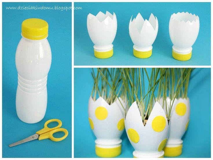 Garrafas de iogurte reutilizadas para fazer plantas de Páscoa.