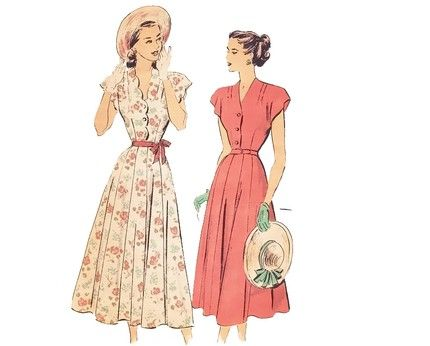 Vintage 1940s Scalloped Shirtwaist Day Dress SEWING PATTEN, Advance 4889 Size 16 Medium Bust 34 by mysweetiepiepie on Etsy