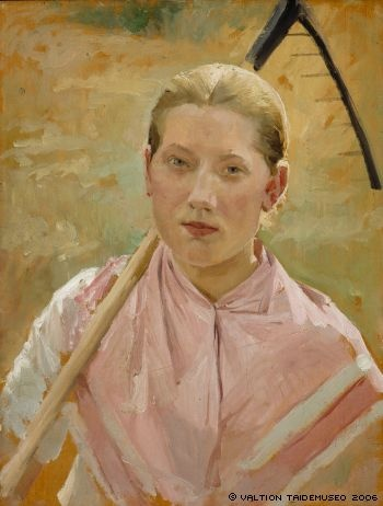 Edelfelt, Albert  Girl with a Rake, Study for August ; Girl with Rake, 1886