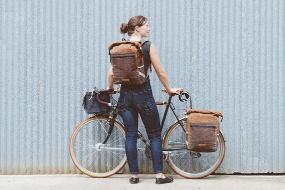 Brown / Convertible Backpack Pannier waxed by anhaicabagworks