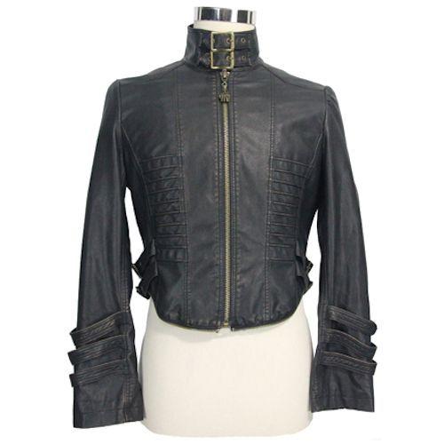 Designer Black PU Leather Gothic Steam Punk Military Trench Coat Men SKU-11401102