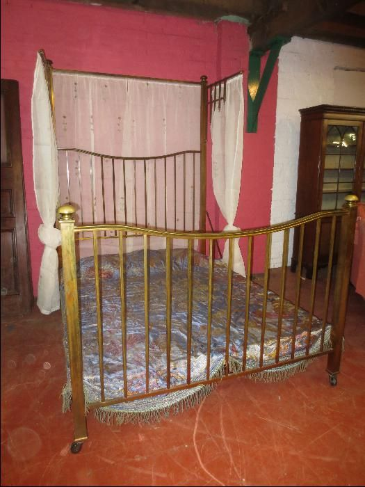 Edwardian Brass Half Tester Bed 1 Of 4 Tennyson Bed Antique