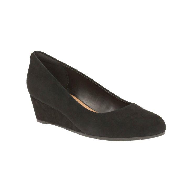 Clarks Womens Vendra Bloom Black Suede Wedge Smart Court Shoe