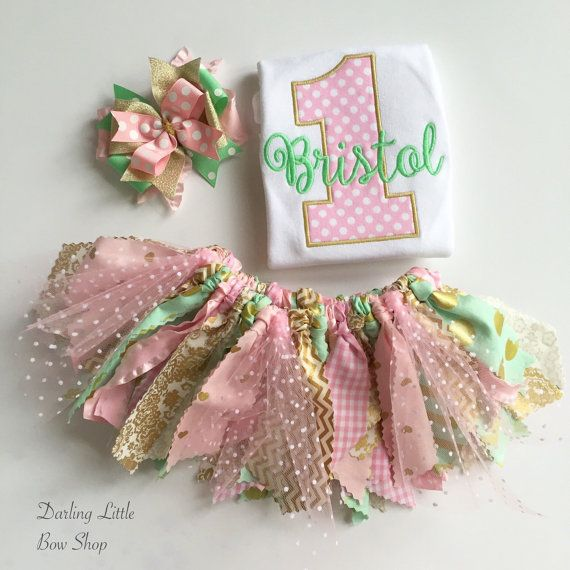 First Birthday Outfit for baby girls  Mint by DarlingLittleBowShop