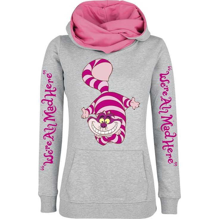 shawl collar hoodie - front and sleeves printed - kangaroo pocket - elastic cuffs If you love the 'Alice in Wonderland' movie from Walt Disney we have this 'Cheshire Cat chic' sweater from for you! On the sweater, the Cheshire Cat and the slogan 'We're All Mad Here' are printed. The shawl collar of the sweater completes the design.