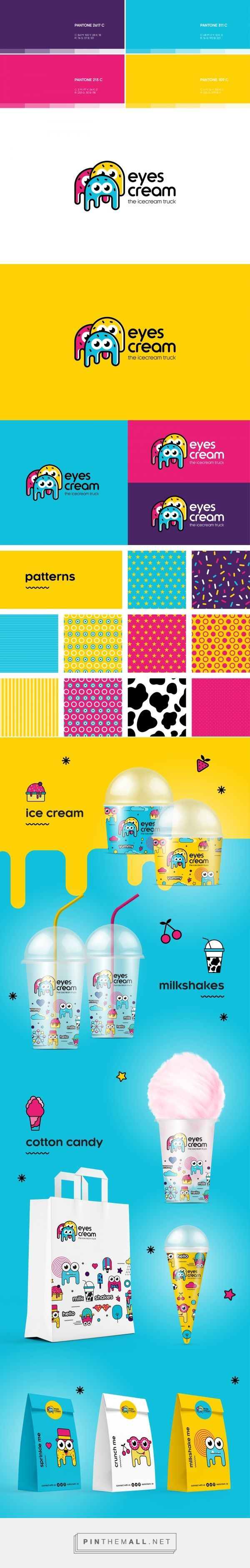 Branding, illustration and packaging for Eyes Cream Truck on Behance curated by Packaging Diva. The cutest packaging design concept based upon eyes for the packaging smile file : )