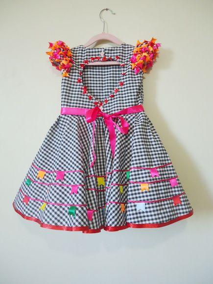 Vestido de festa junina xadrez preto
