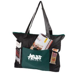 B588HG: The Beverly Hills  80 gsm non woven tote bag  Fashionable colour matching zipper and front pocket  Functional Velcro closing front pocket  Includes two convenient mesh side pockets  Available in: Black, Royal Blue, Red and Hunter Green