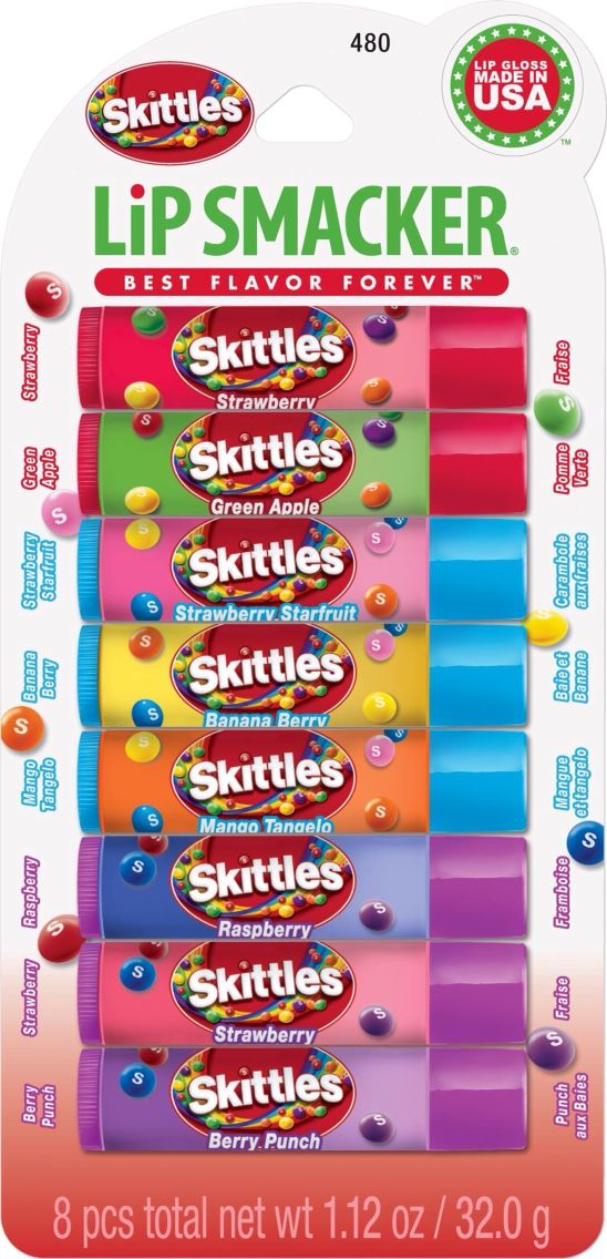 Skittles Lip Smackers | When you put two of my fav things, Lip Smackers and Skittles together, you get this heavenly combo! http://www.lipsmacker.com/