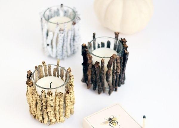 5. Woodland Candles - 7 Cute Woodland DIY Craft Ideas ... → DIY
