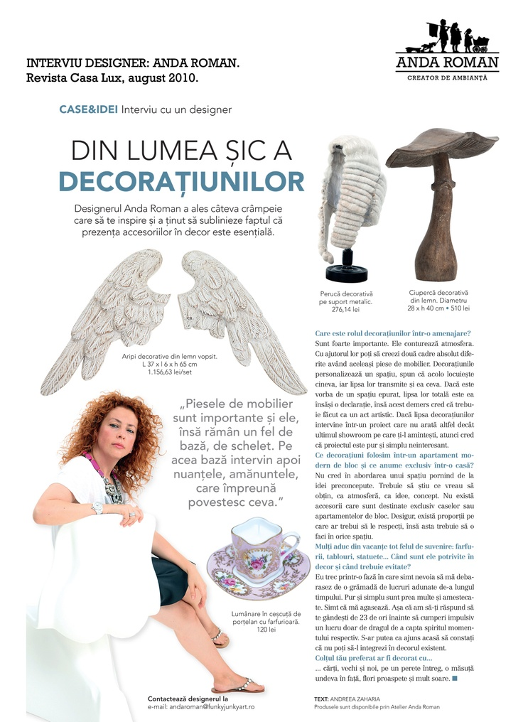 Interview Anda Roman, Casa Lux Magazine, August issue 2010.