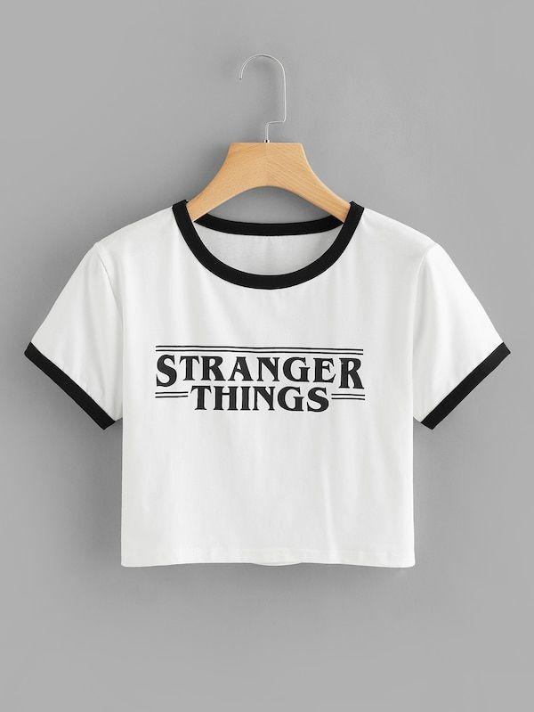f7274ffce2 Letter Print Tee -SheIn(Sheinside) | Tops | Shirts, Printed tees ...