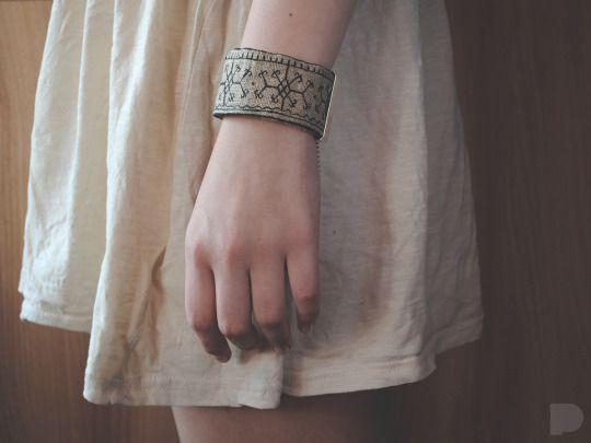 hand-painted linen bracelet. slavic patterns