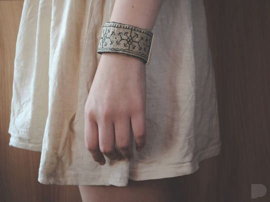 hand-painted linen bracelet. slavic patterns