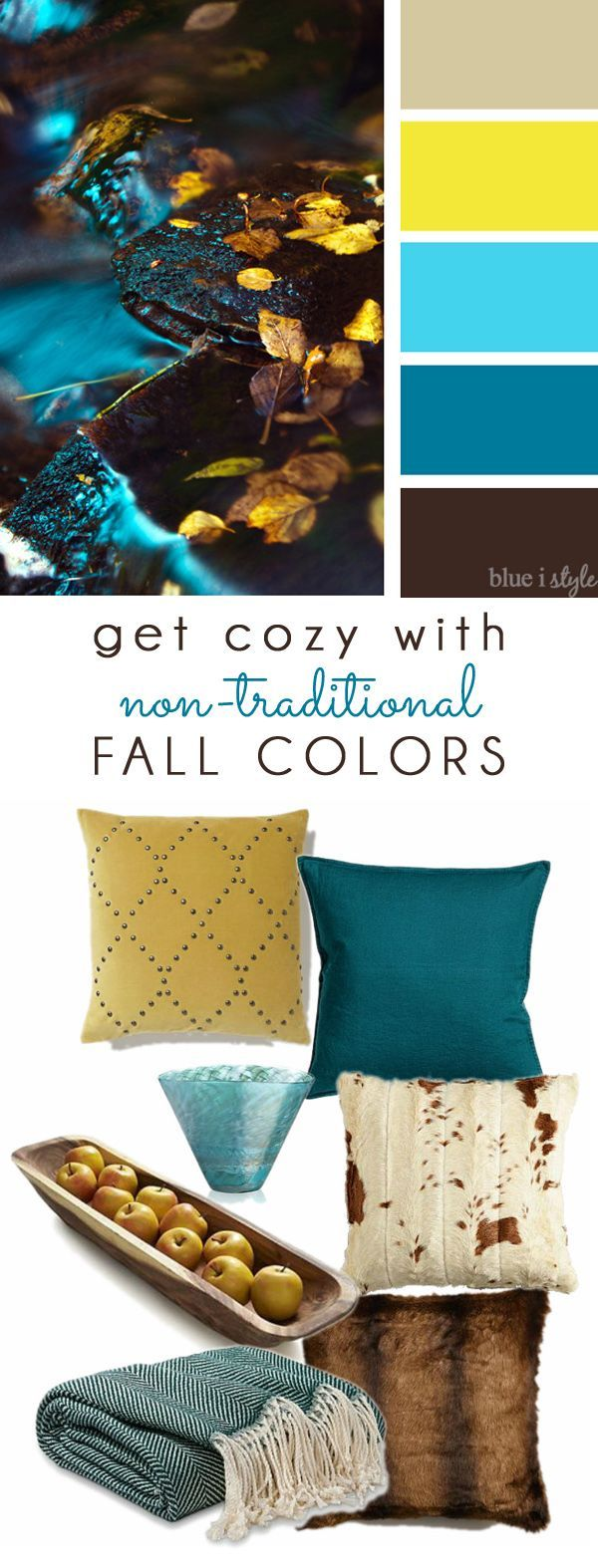 COZY FALL COLORS! A simple mood board to help you bring these non-traditional fall colors of brown, aqua, teal, and yellow into your home decor.