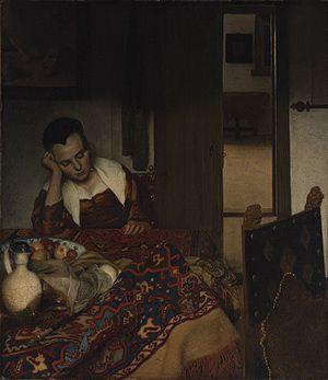 A Maid Asleep, c. 1656-1657, oil on canvas, 34 1/2 x 30 1/8 in. (87.6 x 76.5 cm), Metropolitan Museum of Art, New York #girlatthefrick