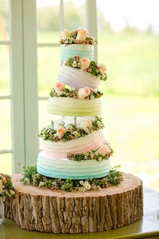 How amazing is this  whimsical wedding #cake with topsy-turvy tiers in color blocked pastels? Love <3 {Katelyn James Photography}