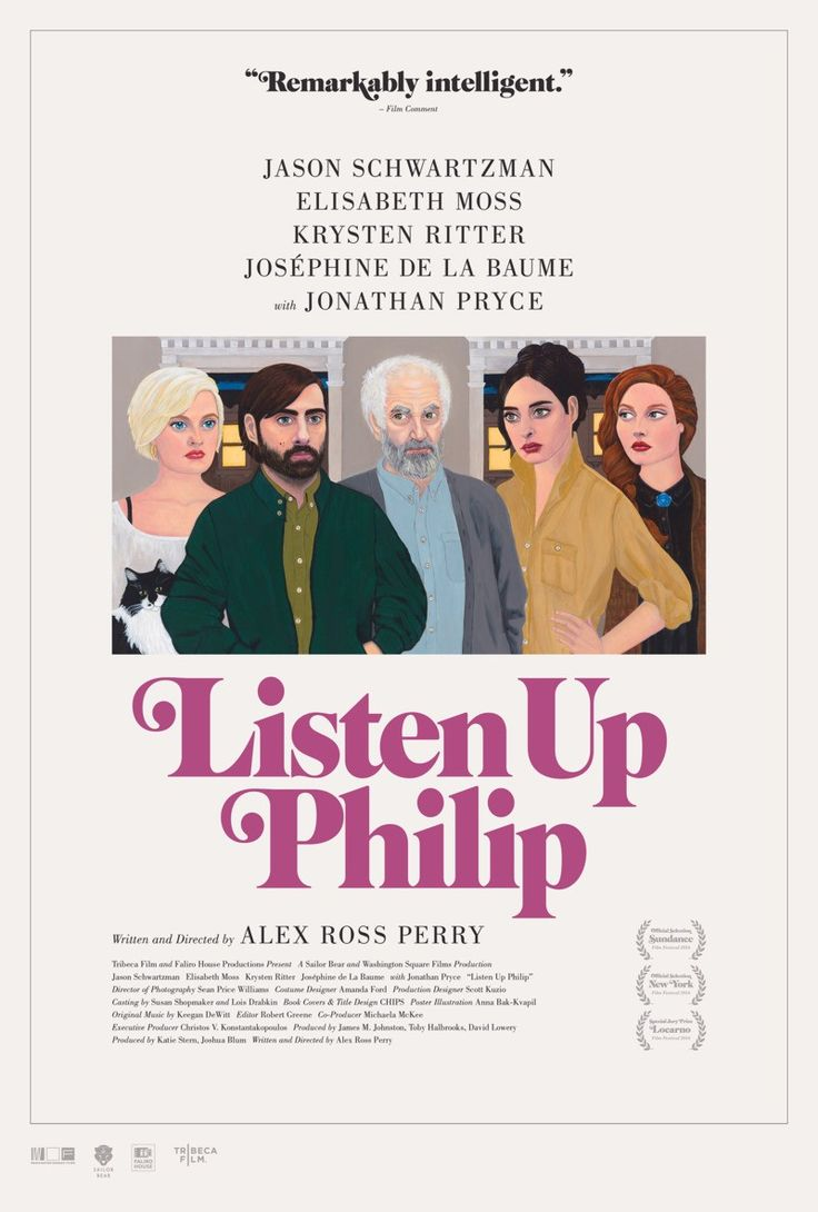 Listen Up Philip (Alex Ross Perry, 2014) US one sheet design by Teddy Blanks of CHIPS with artwork by Anna Bak-Kvapil
