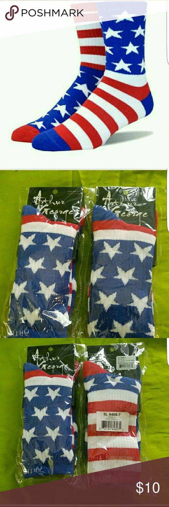 🇱🇷🎉NWT🇱🇷🎉 Rob Kardashion/ Arthur George sox Unisex American Flag socks. Stars and stripes.  I have 2 pairs left. One listed under men and these. Robert Kardashion  Accessories Hosiery & Socks