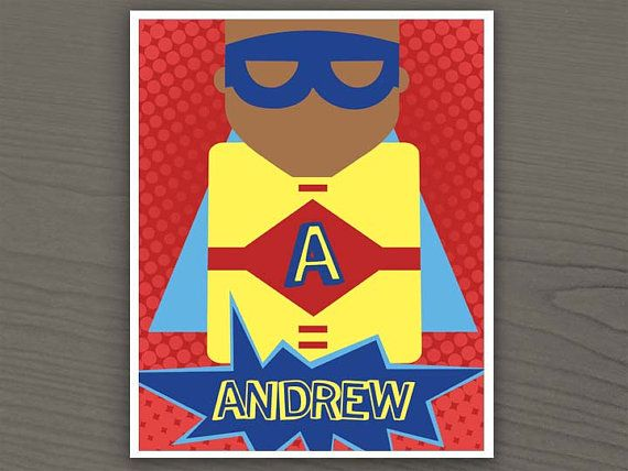 Personalized Superhero Nursery Art - Printable Wall Art - Baby Boy - Red, Yellow & Blue. $7.25, via Etsy  | Color Options