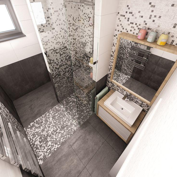 Černo-bílá kombinace obkladů je oživena designovou mozaikou.
