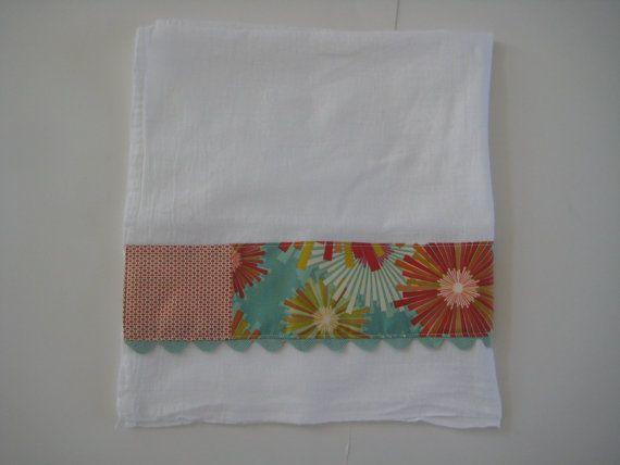 Orange and Teal - Tea Towel Flour Sack Cloth Cotton Embelished Fabric