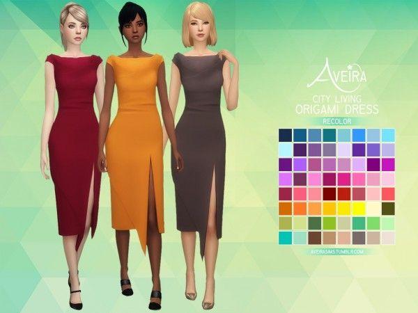 Aveira Sims 4: City Living Origami Dress - Recolor • Sims 4 Downloads