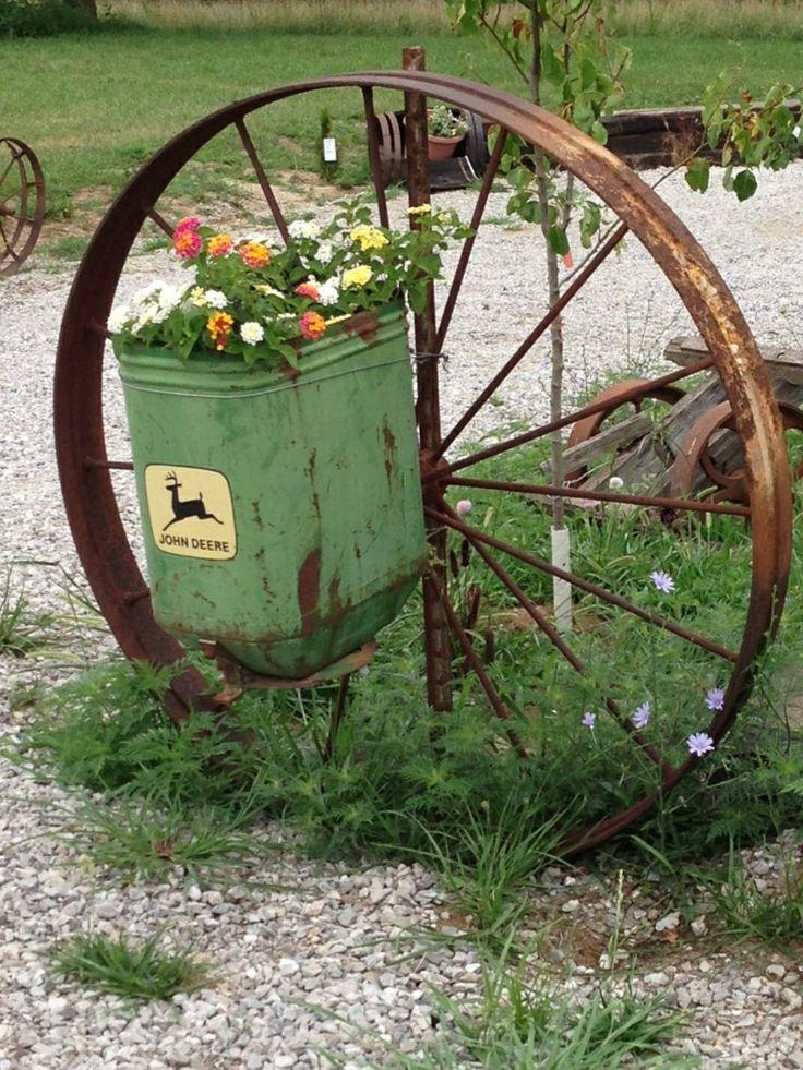 Planter Box And Wagon Wheel Outdoor Plantersoutdoor Decoroutdoor