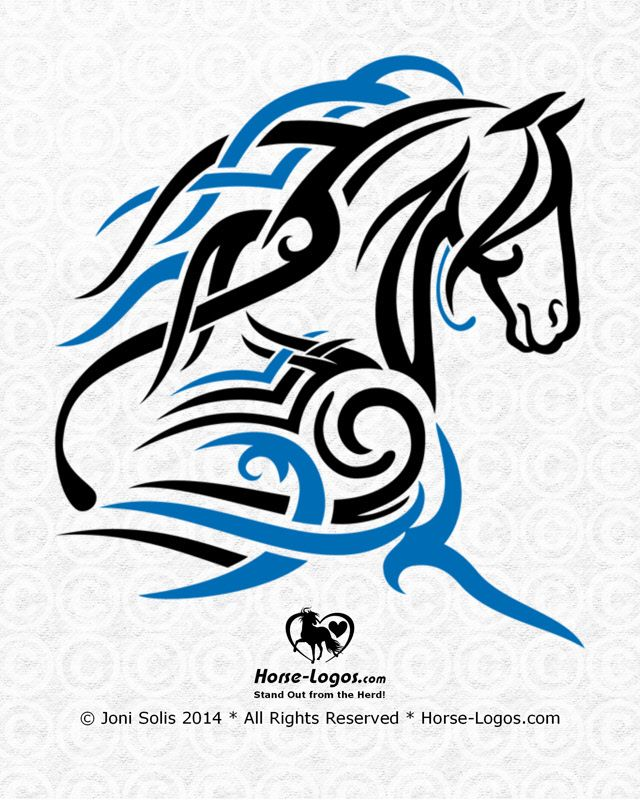 Horse graphic with a tribal tattoo look. Two color design of a horse with a long flowing mane and forelock. Would make a striking logo design for an equestrian business.