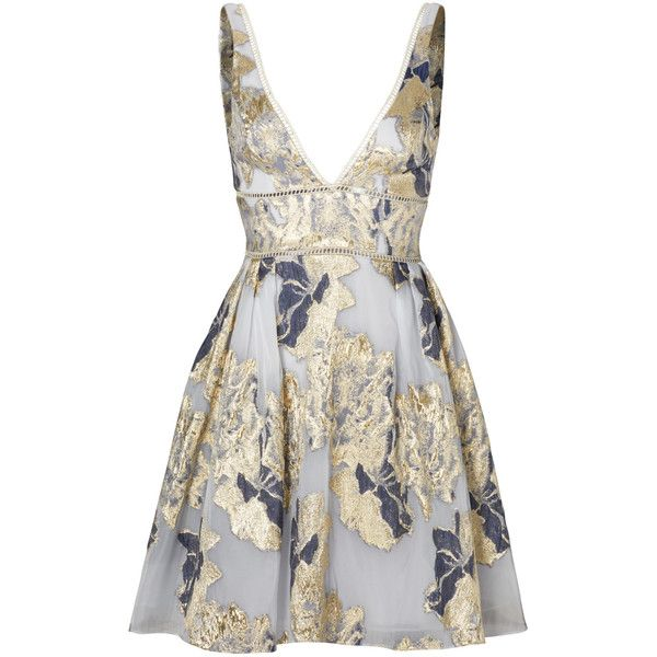 Marchesa Notte Metallic Floral Cocktail Dress ($25) ❤ liked on Polyvore featuring dresses, botanical dress, floral printed dress, flower design dresses, white flower print dress and white dress