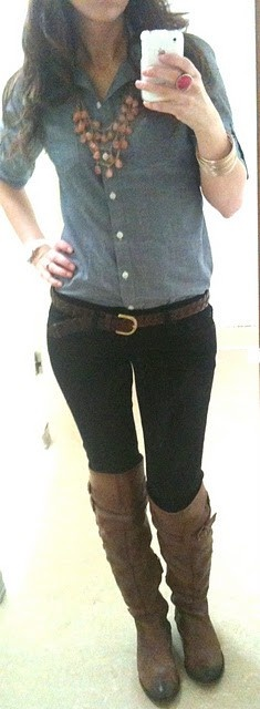 brown boots, black skinnies, denim shirt, chunky necklace, belt: Fashion, Denim Shirts, Fall Outfits, Belt, Brown Boots, Lilly S Style, Fall Winter, Necklace