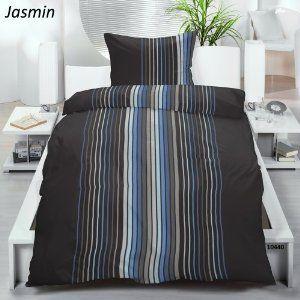 """Microfaser-Bettwäsche Garnitur 2 tlg Gr. 155×220 cm, """"Jasmin"""", blau schwarz beste Angebot « Bettwäsche 155×220"""