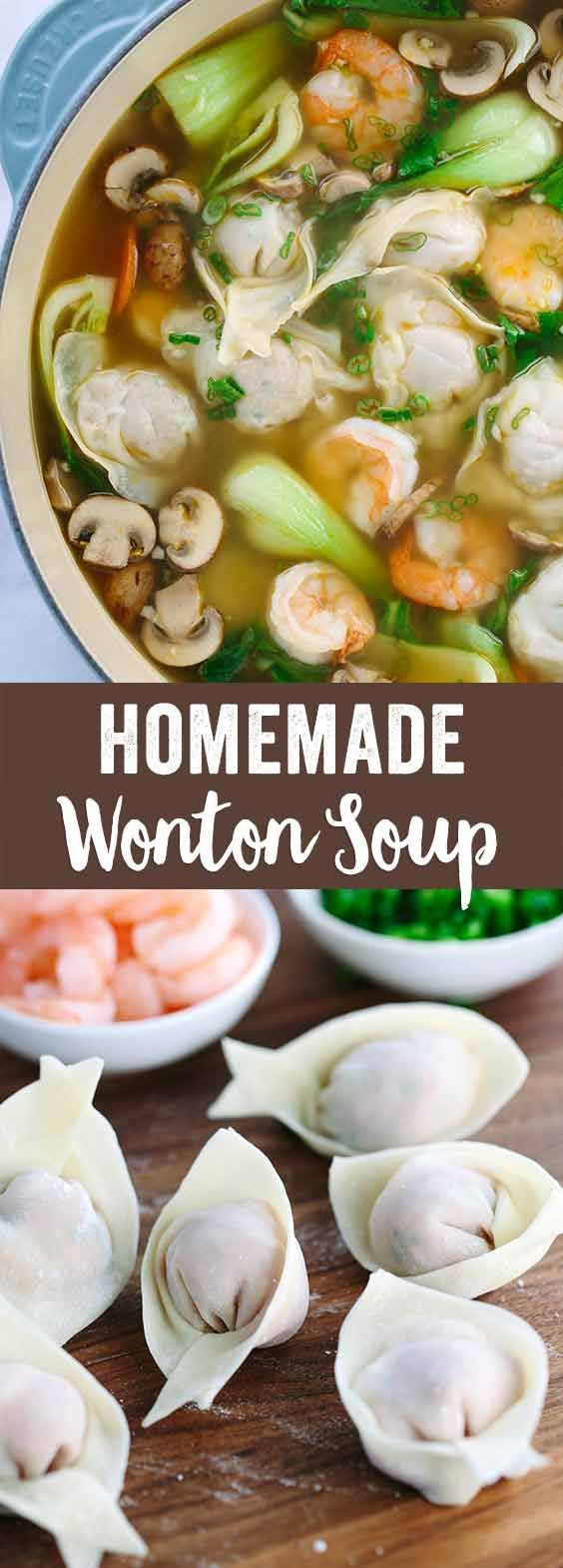 Easy Homemade Wonton Soup Recipe - Each hearty bowl is packed with plump pork dumplings, fresh vegetables and jumbo shrimp. This authentic Asian meal is fun to make! via /foodiegavin/