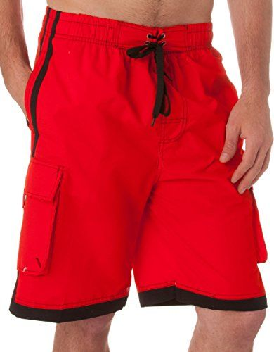 Sakkas 3097WS Mens Contrast Stripes Skate Surf Board Short / Swim Trunks -Red - Medium <3 This is an Amazon Associate's Pin. Item can be found on Amazon website by clicking the VISIT button.