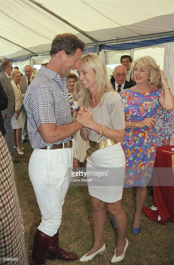 Prince Charles at a polo match in Windsor with actress Susan George and Lady 'Kanga' Tryon (right), 10th July 1991.