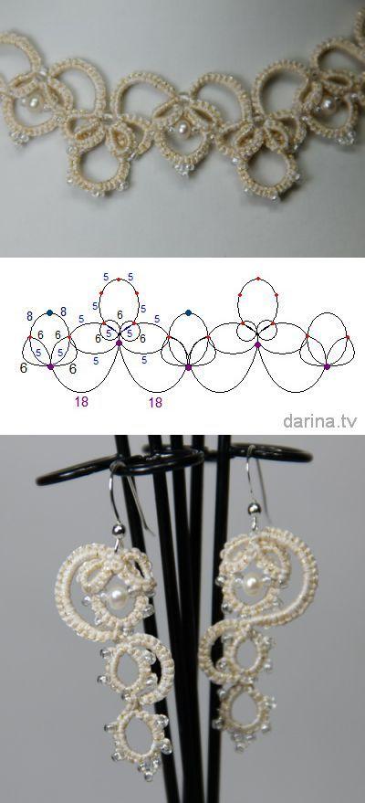 """Olga"" scheme wedding necklaces and earrings (Ankars, tatting) | tatting | POST"