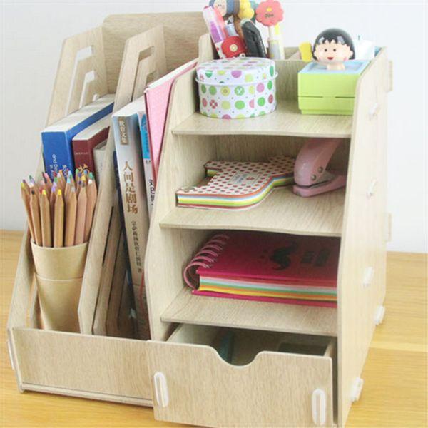 2015 nova 5 cores Organizador da mesa de escritório DIY cotonete titular caixa de armazenamento Organizador de maquiagem de madeira
