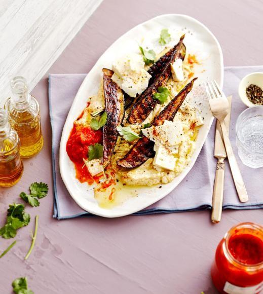 Grill-Aubergine auf Blitz-Hummus