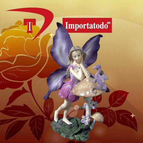 Figura decorativa Hada con Dragones elaborada en Poliresina marca TRENTINO. Modelo 45-642.