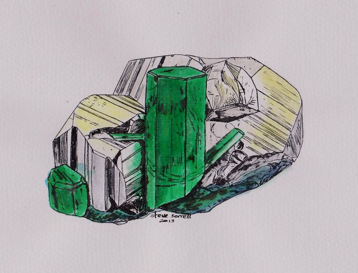 Steve Sorrell Artwork: Emerald and pyrite, Colombia. Ink and watercolour. Painted from a Dan Weinrich photo, with permission.