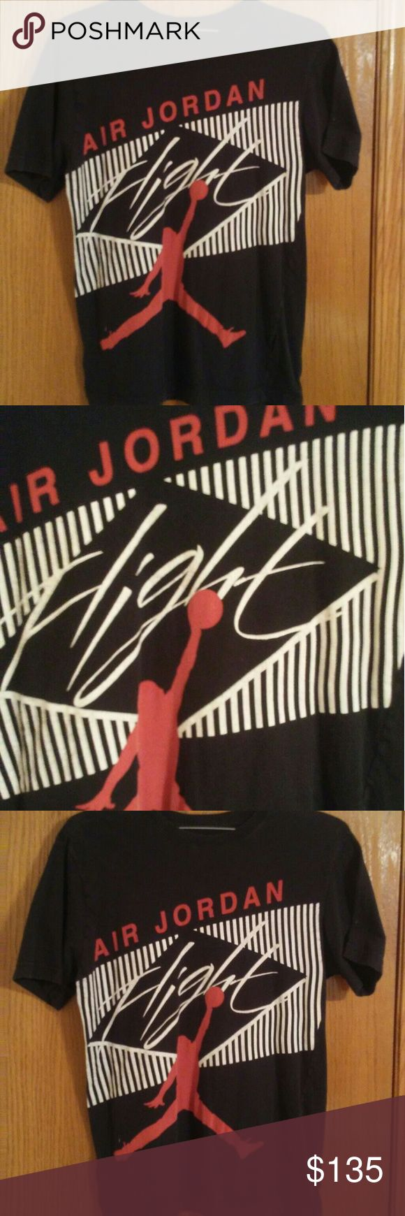 Vintage Air Jordan t shirt hard to find flight t This is an extremely hard to find Air Jordan t shirt please see pic as it does have a small rip in seam easily fixed...try finding another one like it:) make an offer michael Jordan Shirts Tees - Short Sleeve