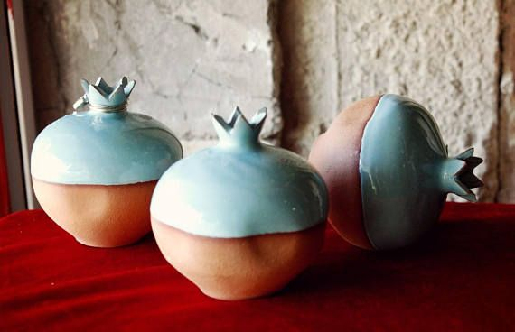 Ceramic pomegranate Pottery Greek pottery art New