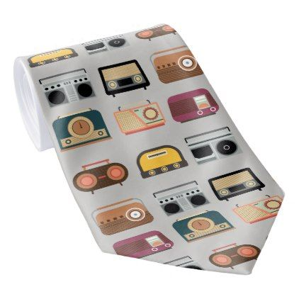 retro radios elegant vintage hipster style tie - modern gifts cyo gift ideas personalize