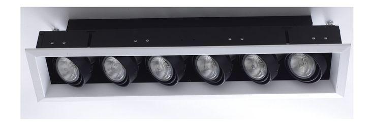 Eurofase Lighting TE166A PAR20 Rectangular Directional 6 Light Recessed Trim White Recessed Lights Recessed Trims Baffle Trims