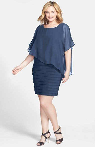 Adrianna Papell Chiffon Overlay Shutter Pleat Sheath Dress (Plus Size)